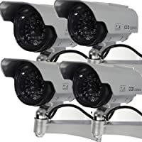Masione 4 Pack Solar Powered Fake Dummy Security Camera with Blinking LED Light