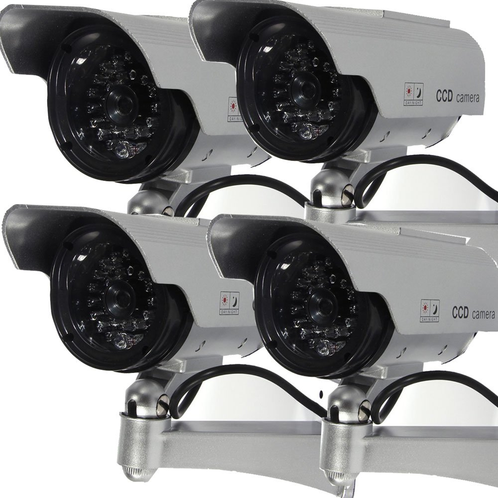 Masione 4 Pack Solar Powered Fake Dummy Security Camera with Blinking LED Light by Masione