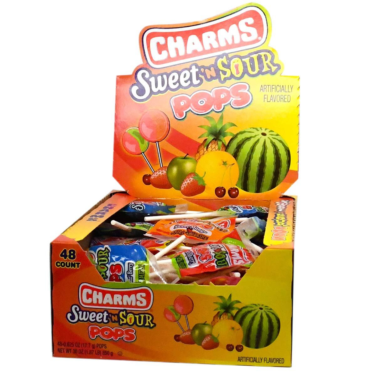 Charms Sweet and Sour Pops, in 5 Assorted Sweet/Sour Flavors, 48-Count Box