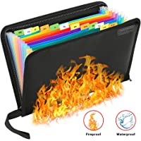 Fireproof File Folder Waterproof File Organizer,13 Pockets Fire Proof Water Resistant Document Bag Money Briefcase Filing Folder,Non-Itchy Silicone Coated A4 Letter Size Safe Storage Pouch with Zipper
