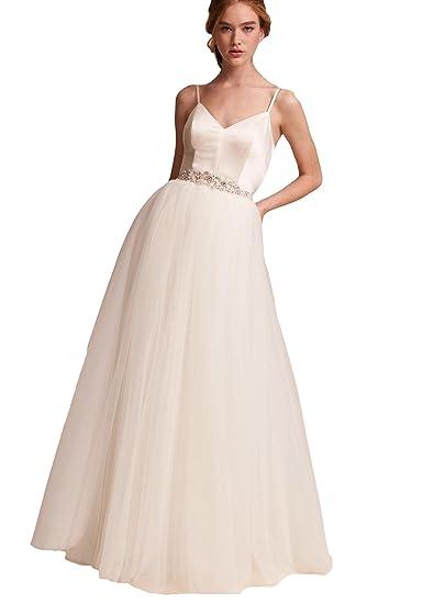 6eac17f173b5 Elleybuy Women s Spaghetti Straps Beach Wedding Dresses 2019 Backless Wedding  Dress US2 Ivory