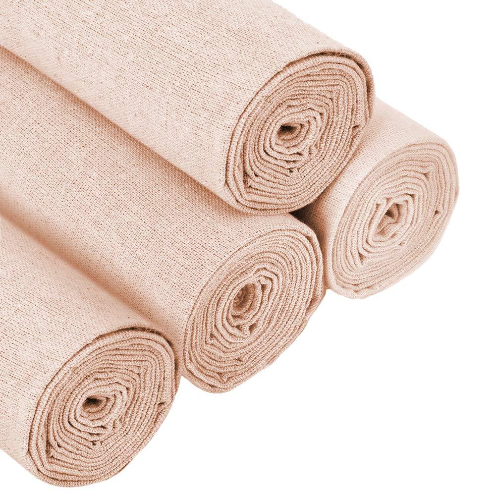50,8 cm en lin Fabraic pour tapisserie blanc 4 Colors Lot de 4 tissus en lin naturel pour travaux daiguille et fabrication de v/êtements d/écoration de pot de fleurs et nappe