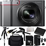 Panasonic Lumix DMC-ZS100 Digital Camera (Silver) 16GB Bundle 10PC Accessory Kit Includes 16GB Memory Card + Replacement BCM-13 Battery + AC/DC Rapid Home & Travel Charger + Full Size Tripod + Pistol Grip/Table Top Tripod + Micro HDMI Cable + MORE