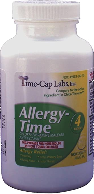 Allergy-Time Chlorpheniramine Maleate 4mg Generic for Chlor-Trimeton Allergy 1000 Tablets per Bottle