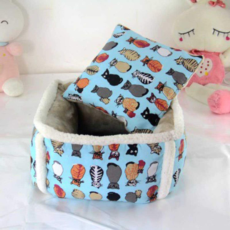 bluee Large bluee Large Deep Sleep Pet Nest High Cat Bed Winter Warm Kennel Pet Square Pet Supplies