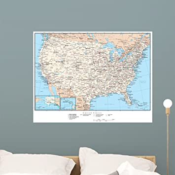 Amazon.com: United States America Map Wall Mural (36 in W x 28 in H ...