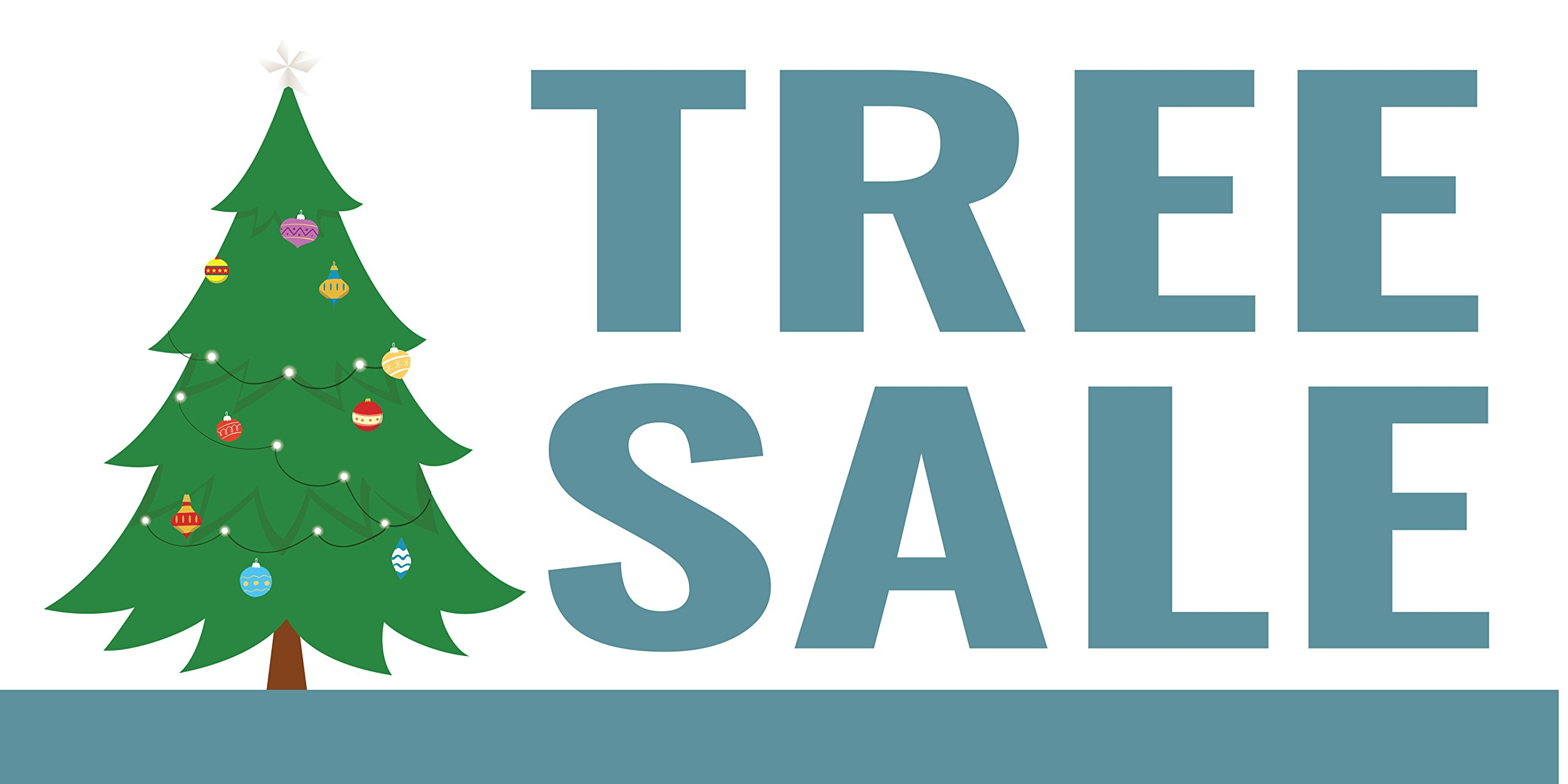 Pre-Printed Tree Sale Banner Christmas - Light Green (10' x 5') by Reliable Banner Sign Supply & Printing