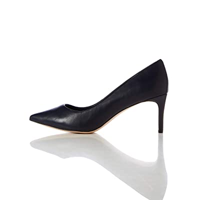 Amazon Brand - find. Women's Mid Heel Leather Pumps: Shoes