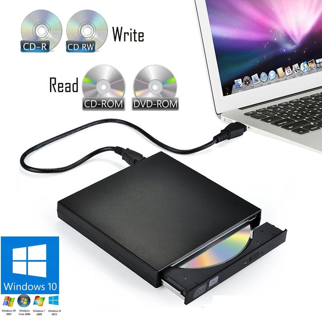 External CD/DVD Drive for Laptop PC & Notebook Windows 10 - USB Optical Slim Combo Writer Burner for CD-R (24x Speed) & CD-RW (8X Speed) – Reader Player for CD-ROM (24x) & DVD-ROM (8X)
