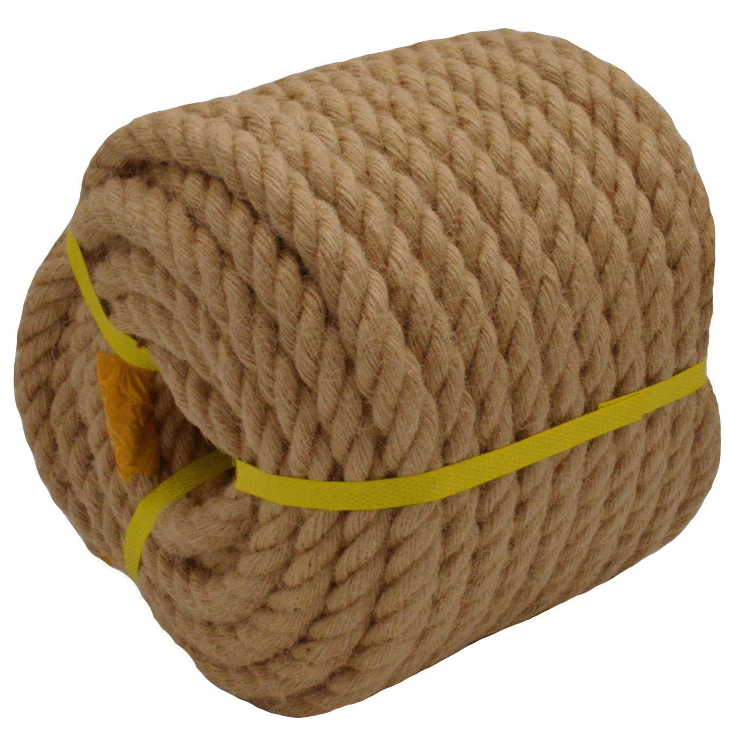Twisted Manila Rope Jute Rope (3/4 in x 100 ft) Natural Thick Hemp Rope for Crafts, Nautical, Landscaping, Decorations, Hanging Swing by YUZENET