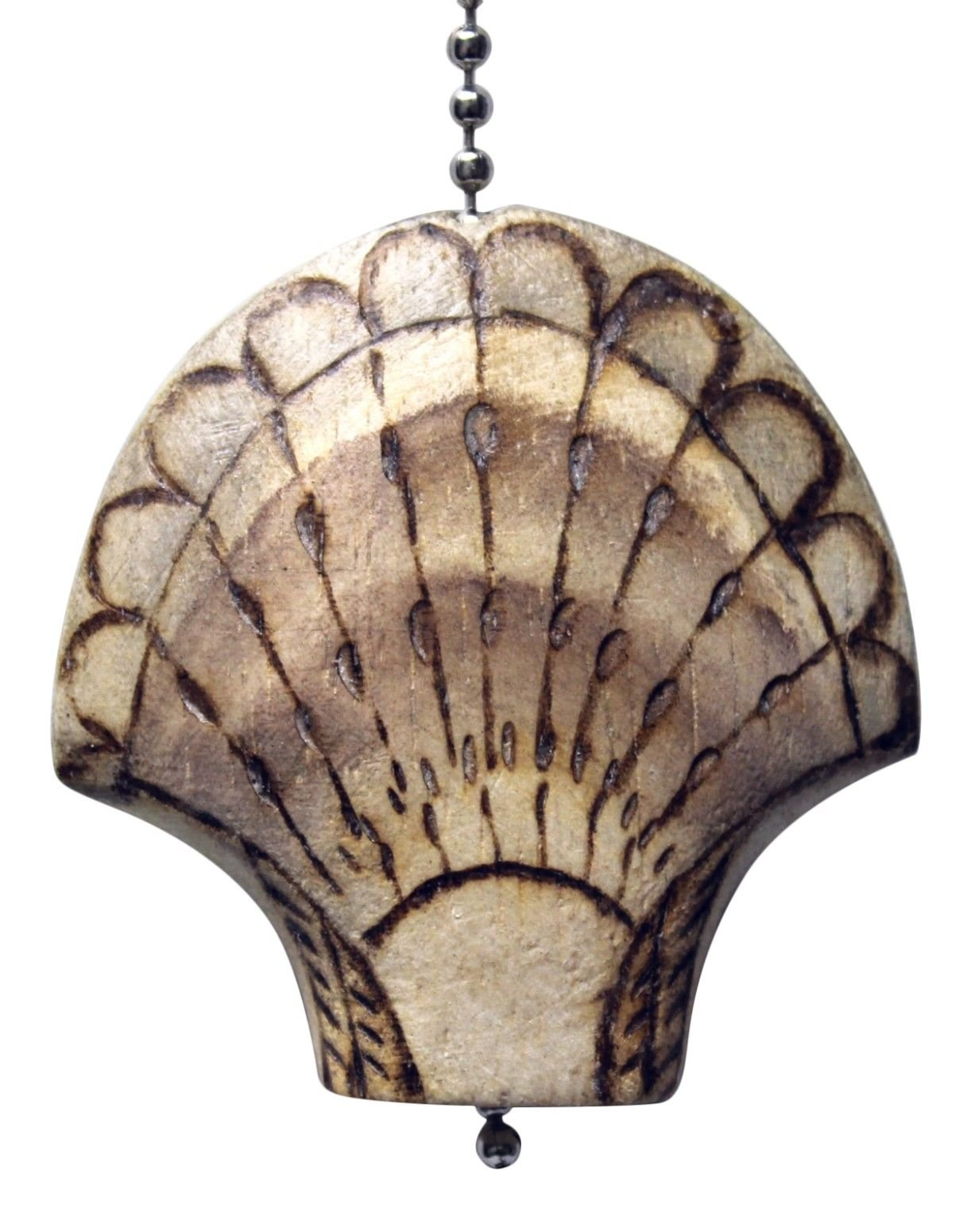 Gatton Scallop Shell Wood Burned Hand Carved Wood Ceiling Fan Light Pull by Gatton