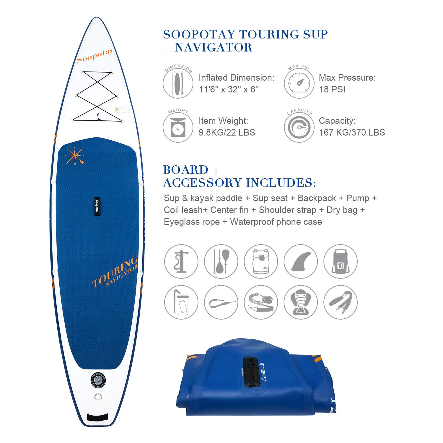 Inflatable SUP Board, Inflatable SUP Kayak, iSUP Package with All Accessories (Touring-Navy Blue-11'6'' x 32'' x 6'') by Soopotay (Image #2)