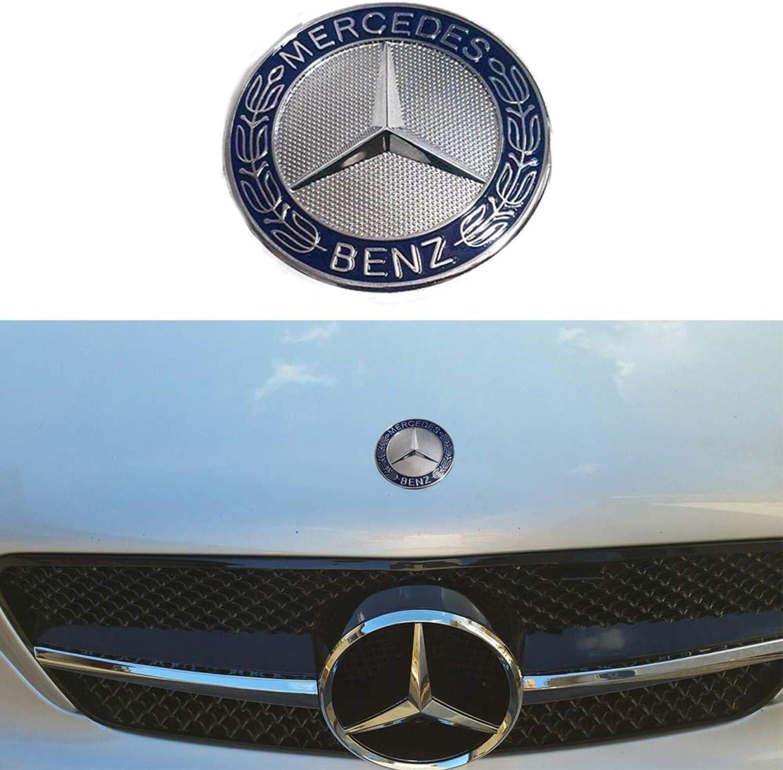 Frenchic Dark Blue OEM Flat Hood Star Emblem Badge for Mercedes Benz 57mm //2.244 Wheat Flat