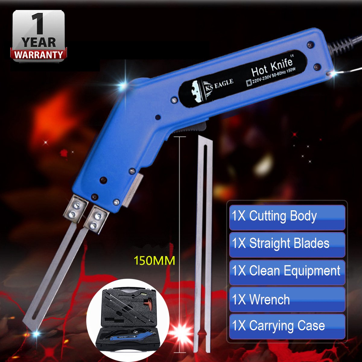 Pro Electric Hot Knife Foam Cutter Tool Heat Knife Cutting Kit 150W 120V(Blue)