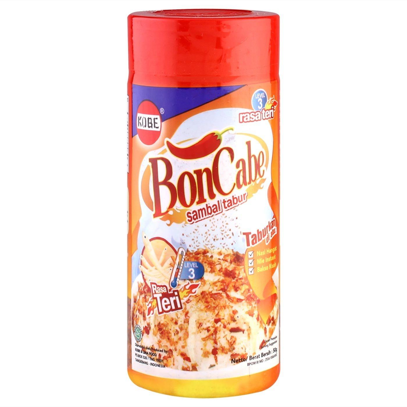 Kobe Bon Cabe Boncabe Anchovy Teri Sprinkle Chili Flakes Level 3 Sambal Cuk Travel Pack Bawang 50 Gram Of 1 Grocery