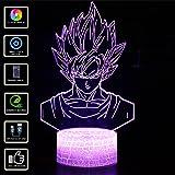 3D Illusion Lampe NHSUNRAY 7 couleurs Changement Optique Tactile Lumière USB et Télécommande Art Déco Faites Une Ambiance Romantique cadeau d'anniversaire de Noël Saint Valentin (Dragon Ball)
