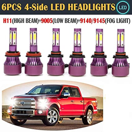 LED Headlight High Low Beam Bulb+Fog Lights for Ford F-150 2015-2018 White 6500K