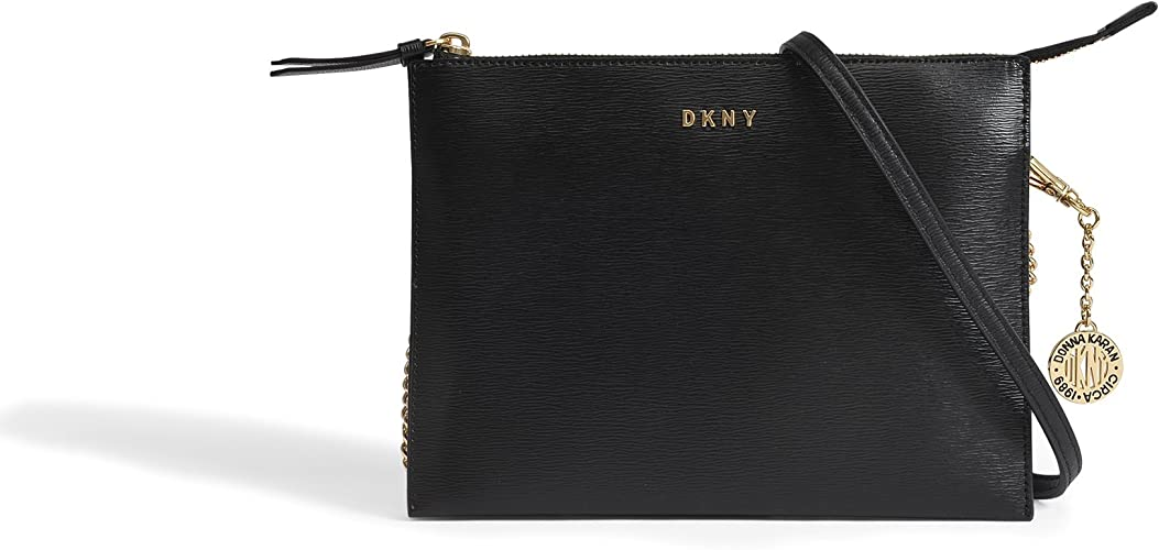 DKNY Sutton Flat Black Leather Top Zip Cross Body Bag Black