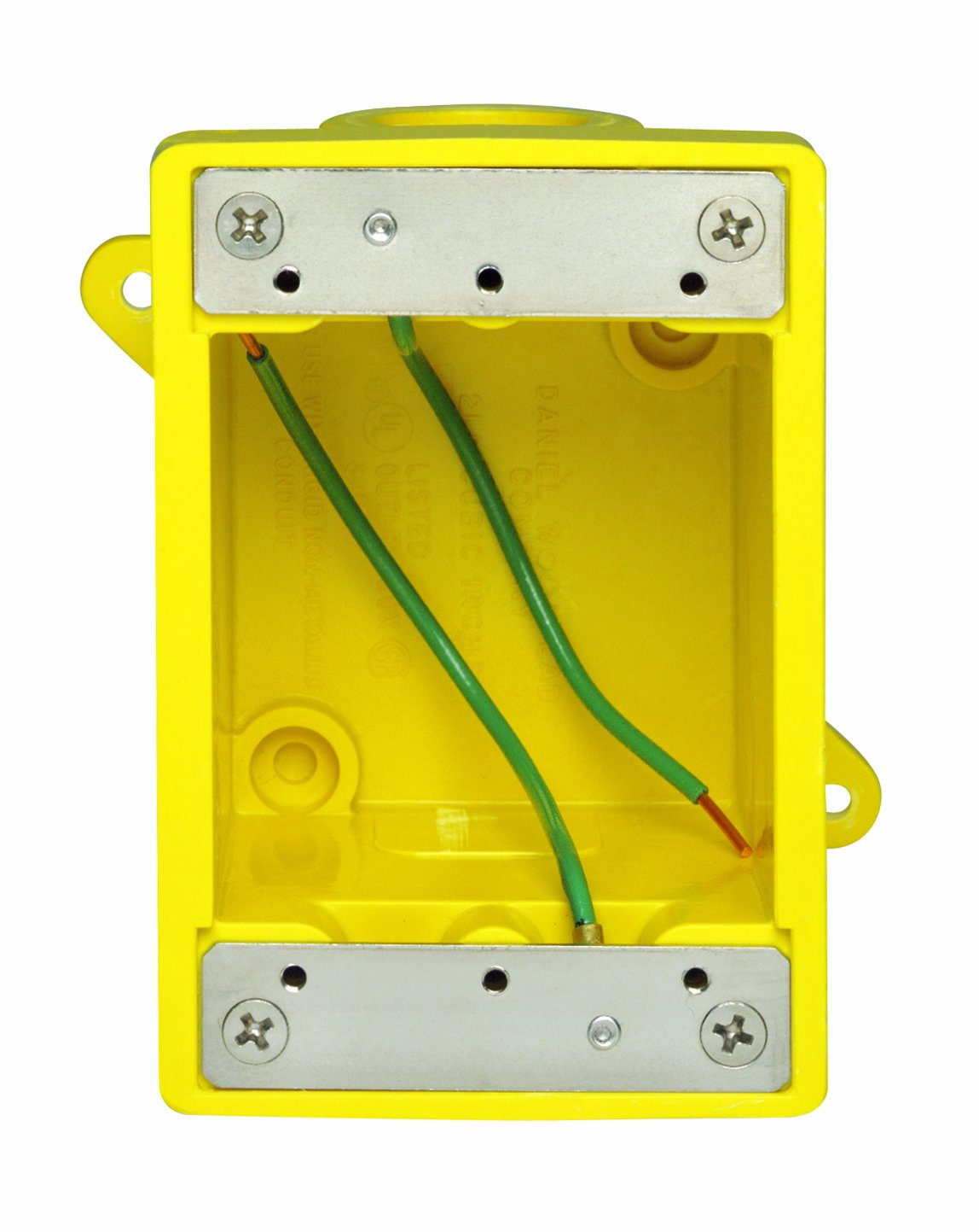Leviton 452CR Fd Box 2 Ko Openings 1/2-Inch for Straight, Locking Receptacle, Wetguard IP66, Yellow
