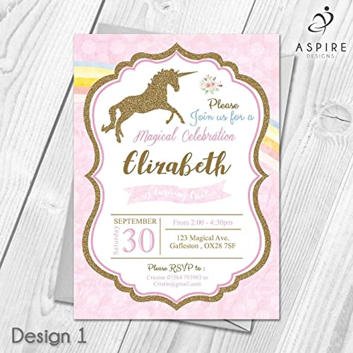 Personalised Unicorn Invitations