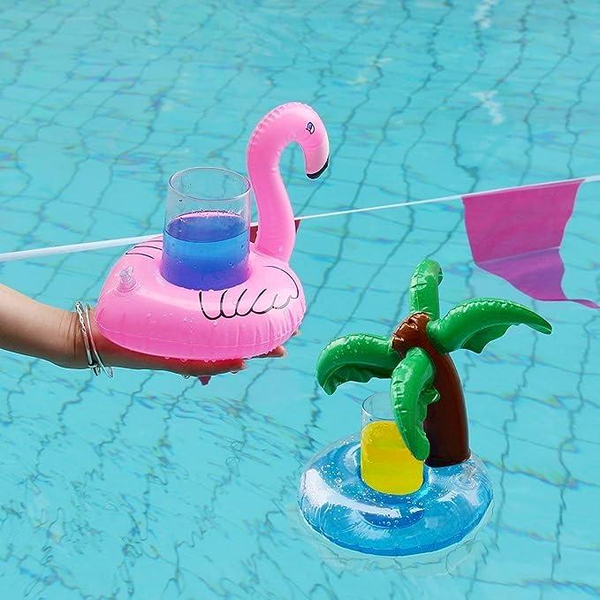 Isuper Posavasos de Flotador de Bebida,Portavasos Hinchable,Juguetes Flotantes hinchables Decoración para Fiesta de Verano de Piscinas Set de 16pcs