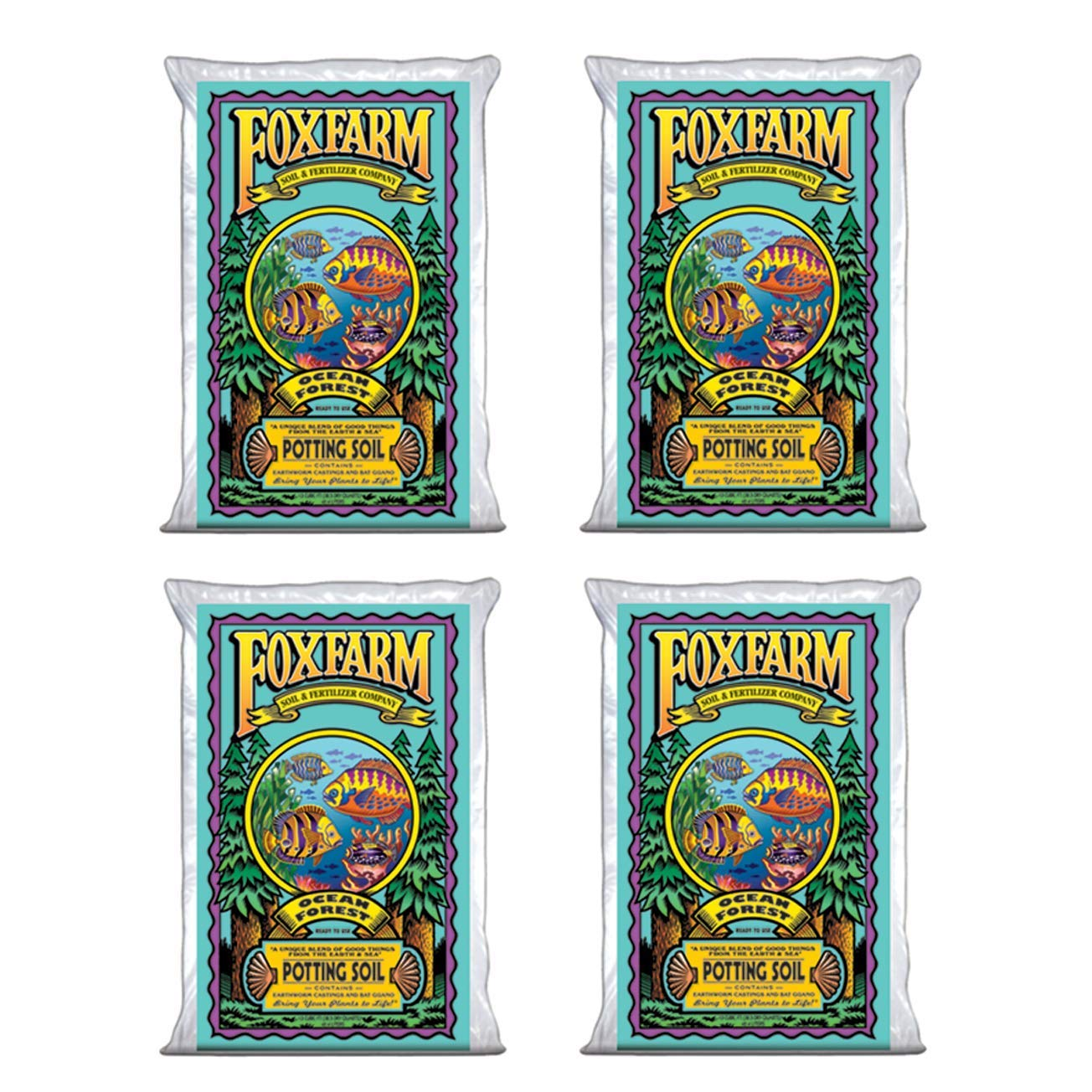 (4) FoxFarm FX14000 Ocean Forest Garden Potting Soil Bags 6.3-6.8 pH | 6 Cu Ft by Fox Farm