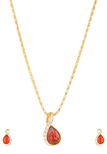 08a6760766437d Estelle Gold Red Color Big Single Ruby Stone Pendant & Ear ring jewellery  Sets|Simple