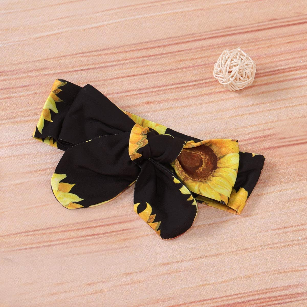 changchang Newborn Baby Girls Clothes Set Short Ruffle Sleeve Romper Tops+Sunflowers Print Pants+Headband Toddler Outfit Summer 0-24M