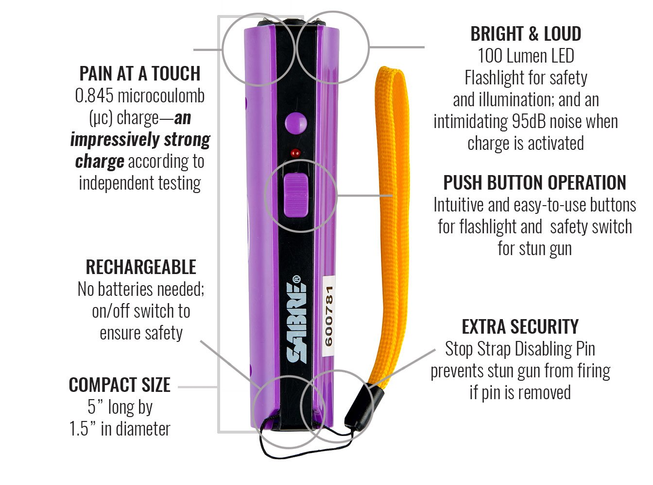 Sabre S 1006 Pr Concealable Stun Gun Led Flashlight Simple Electrical Diagram Electric Shock Delivers 0845 Pain Inducing Microcoulombs 100 Lumens Disabling Safety Pin Training