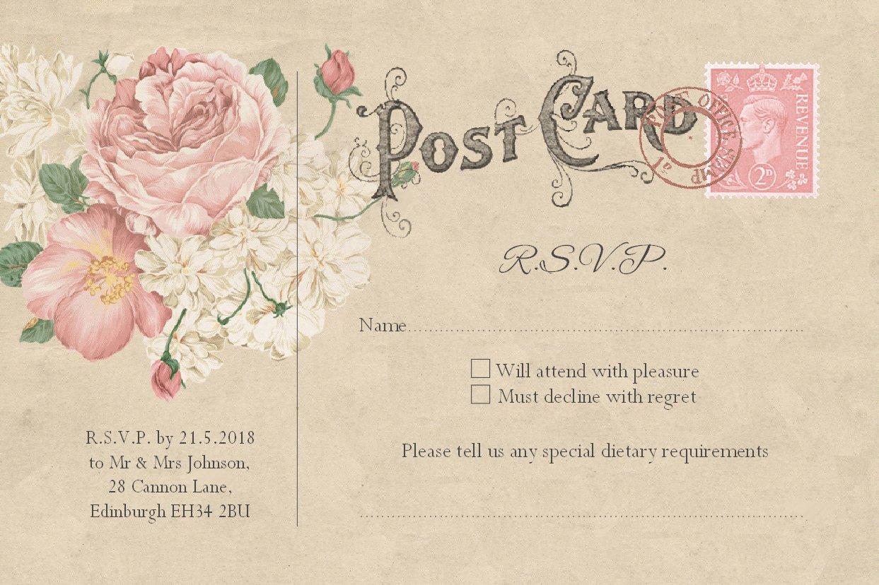 RSVP Cards 10x15 cm Envelopes Included 40 RSVP Inserts