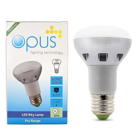Opus Bombillas LED R63 Reflectoras 7W Equivalente a 60W Casquillo ES E27 Blanco Cálido 3000k Super