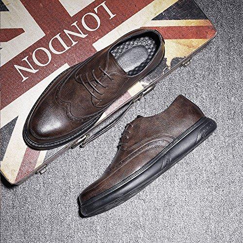 Oxfords shoes da PU in Marrone Stringate 2018 Classic intagliato Color lacci con uomo pelle design Scarpe Primavera con Nero Outsole Fang EU Dimensione Estate 41 ZqdpwXdF