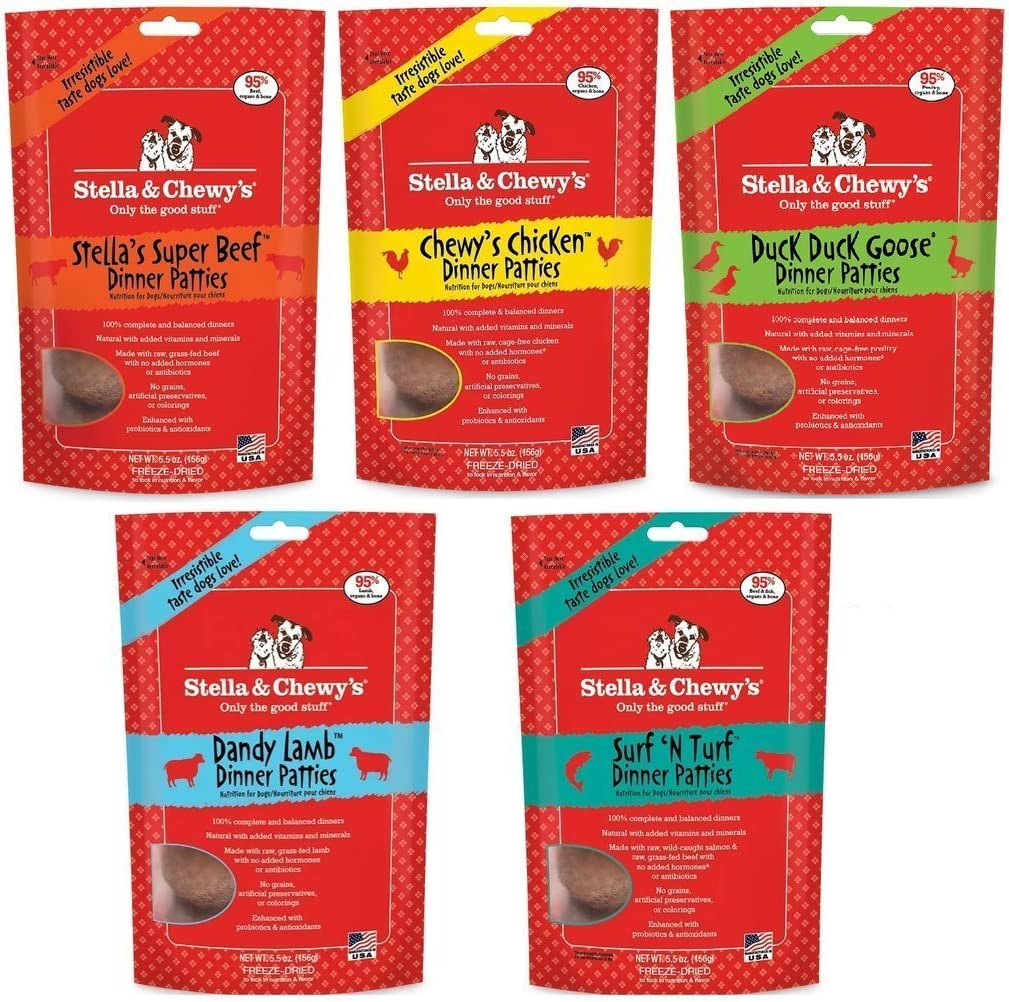 Stella & Chewy's Freeze Dried Dog Food for Adult Dogs, 5.5 oz Variety Pack 1 of each Flavor (Beef, Chicken, Duck, Surf N' Turf, Lamb 27.5oz Total)