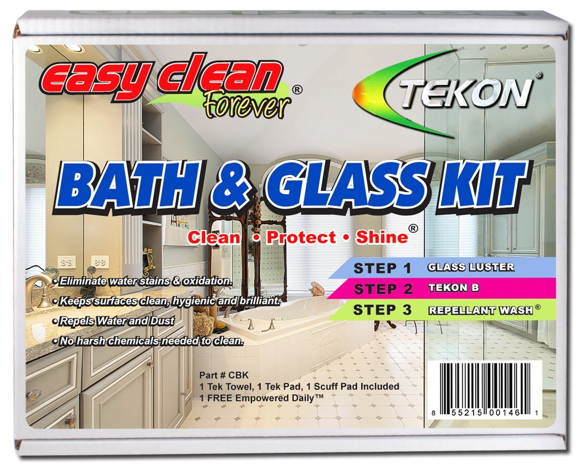 TEKON - Easy Clean Forever Bath and Glass Kit: Cleaner, Sealer, Polisher and Protector for Stone Shower Walls, Glass, Countertops, Granite, Marble and More!
