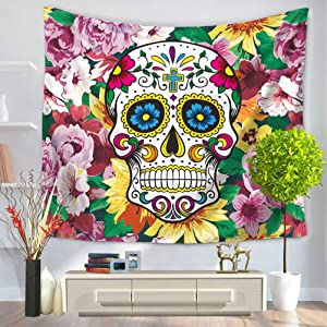 LANGUGU Sugar Skull Decor Tapestry,Funny Skull with Colorful Floral Victorian Style Dead Skeleton Graphic Art Print,59 W X 51 L Inches?Wall Hanging for Bedroom Living Room Dorm