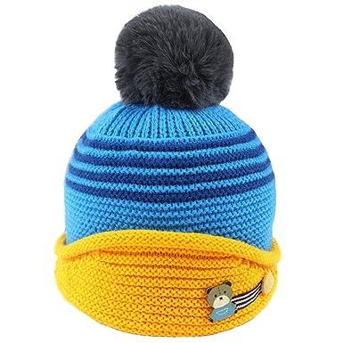 Tuopuda® Gorras Invierno Bebe Niño Niña Sombrero con Pompon Gorro de Punto Forro polar cálido