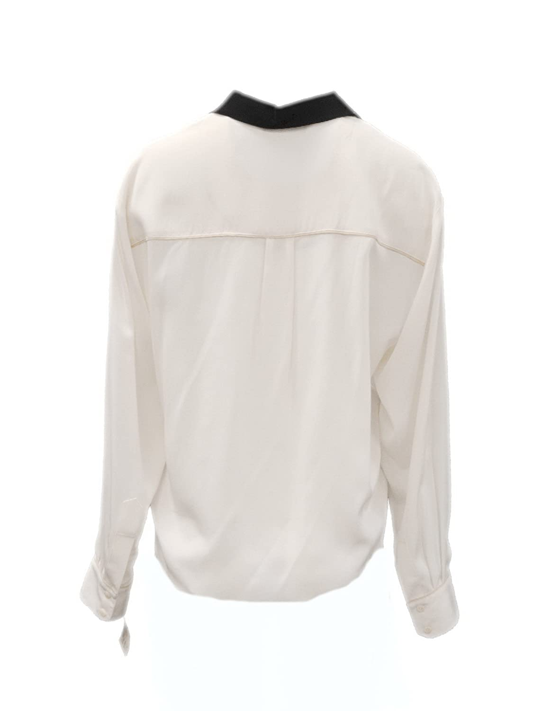 4fc1dbdfa688d Amazon.com  TRINA TURK Womens Colorblock Silk Tie Front HELINDA Shirt Sz S  Whitewash 170116E  Clothing