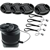 HONBAY Lens Cap Bundle ,Honbay 4 Snap-on Lens Covers for DSLR Cameras including Nikon, Canon, Sony - Lens Cap Keepers included