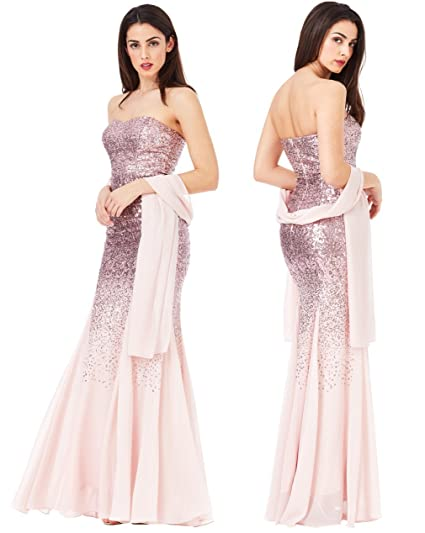 Goddiva Pink Strapless Sequin Chiffon Inserts Maxi Dress-Wrap Bridesmaid Party (8)