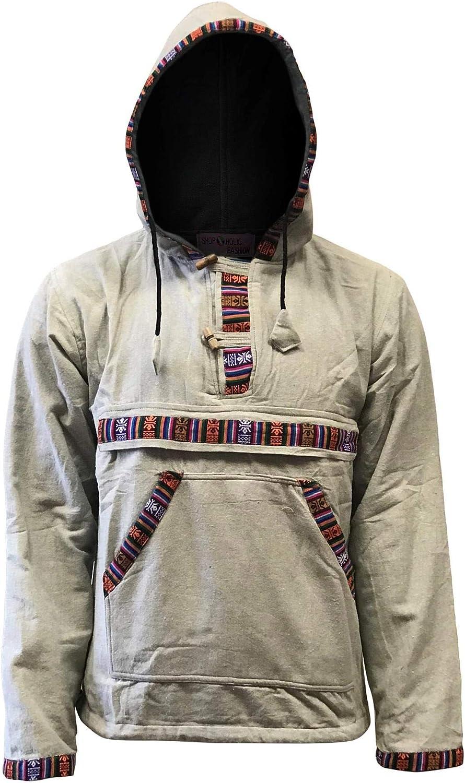 Ezhippie - Camisa con Capucha para Hombre con Forro Polar