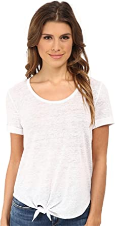 6e8151f8 C&C California Women's Roll Sleeve Tee w/ Side Tie Detail Optic White T- Shirt