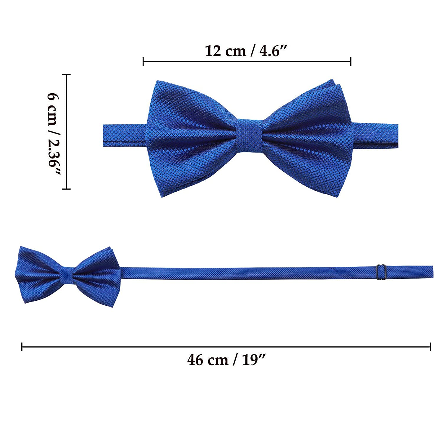 Black Mens Boys Formal Bow Ties 6 Pack of Solid Color Adjustable Pre Tied Bowties