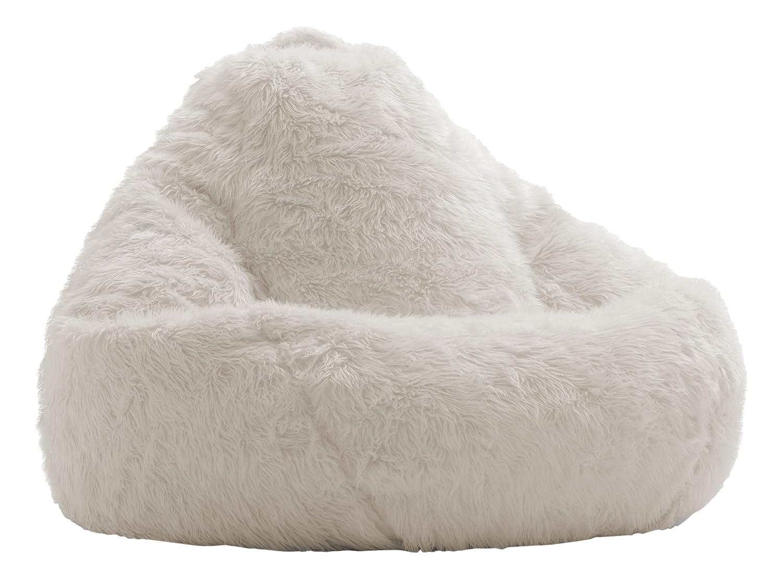 Stupendous Big Joe Lux 132 Teardrop In Shag Ivory Inzonedesignstudio Interior Chair Design Inzonedesignstudiocom