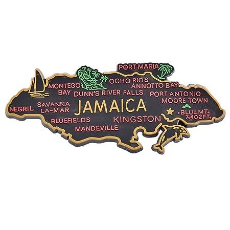 Azsunnyshow Jamaica Souvenir Imanes de Nevera con Forma de Mapa ...