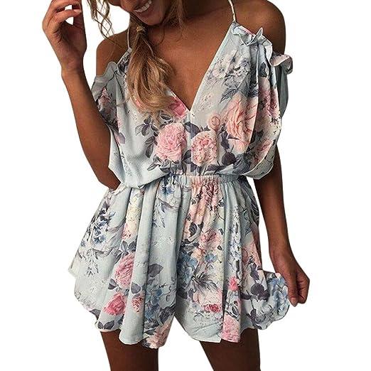 d3801339d525 Women Summer Cold Shoulder Short Sleeve Floral Jumpsuit Evening Party Beach Mini  Romper (S,