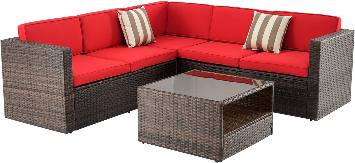 Oakmont 4Pcs Outdoor Furniture Patio L-Shaped Conversation Sectional Sofa Set with Brown Premium Wicker, Sophisticated Glass Coffee Table, Front Porch Garden Pool Lawn (Red)
