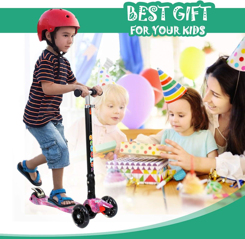 Birtech Kinderroller ab 2 3 4 5 6 7 8 Jahre Kinderscooter 3 R/äder Led h/öhenverstellbarer mit verstellbarem Lenker f/ür Jungen und M/ädchen,Gr/ün