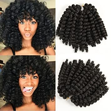 Amazon Com 8 Inch Black Wand Curly Braids Jamaican Bounce African