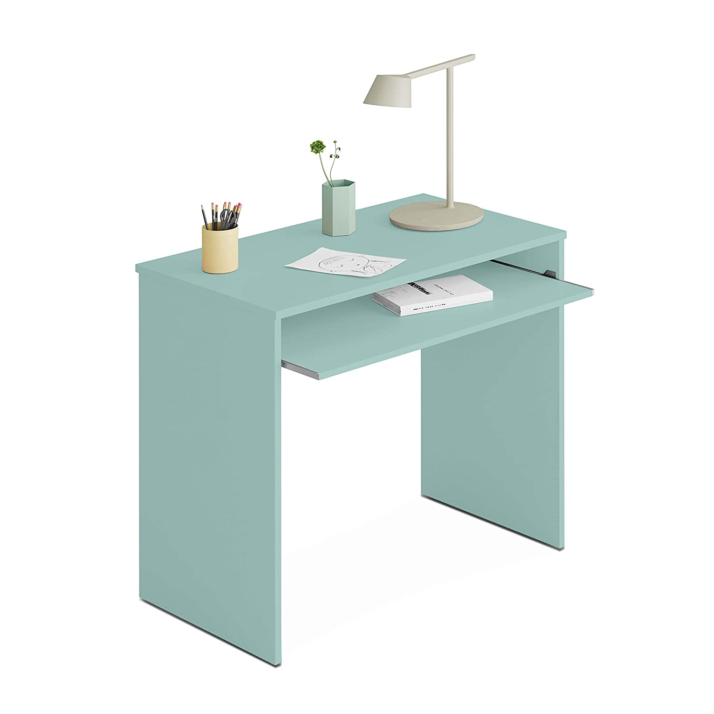 Habitdesign - Mesa de Ordenador con Bandeja Extraible, Medidas: 90 x 79 x 54 cm de Fondo (Verde Acqua)
