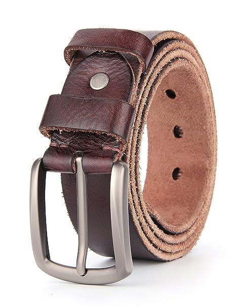 95aefa37d Weinida Full Grain Hombres Negocio Vestimenta Casual Ropa Cinturón de Cuero  Cinturones hecho a mano 38mm: Amazon.es: Ropa y accesorios